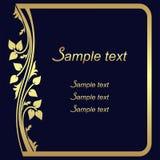 Fondo decorato blu scuro con la pagina floreale dorata Fotografia Stock