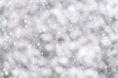 Fondo Defocused de la nieve que cae suave del thock Fotos de archivo