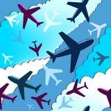 Fondo degli aeroplani Reticolo senza giunte della priorità bassa con gli aeroplani Fotografie Stock Libere da Diritti