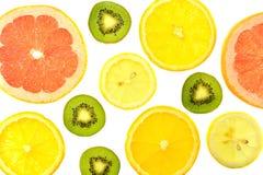 Fondo degli agrumi e dei kiwi differenti di generi Fotografia Stock Libera da Diritti