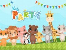 Fondo degli animali della giungla Il cartello della celebrazione o la doccia di bambino identifica le immagini di vettore di spir illustrazione vettoriale