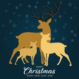 Fondo degli azzurri con la famiglia della renna per natale Iscrizione di Buon Natale illustrazione vettoriale