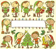 Fondo degli elfi di Natale - illustrazione Fotografie Stock Libere da Diritti