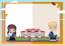 fondo degli scolari dei libri, della ragazza e del ragazzo con un mazzo, scuola, scuolabus, foglie di autunno royalty illustrazione gratis