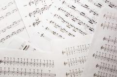 Fondo degli strati di musica con le note Fotografia Stock Libera da Diritti