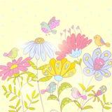 Fondo degli uccelli e dei fiori Fotografie Stock