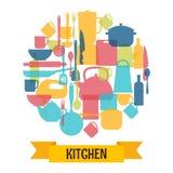 Fondo degli utensili da cucina Attrezzatura del ristorante e della cucina Fotografie Stock