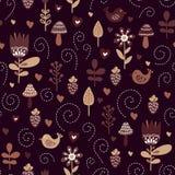 Fondo dei bambini con gli uccelli e le piante svegli a colori di marrone, beige, in bianco e nero illustrazione di stock