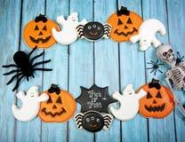 Fondo dei biscotti di Halloween Fotografie Stock