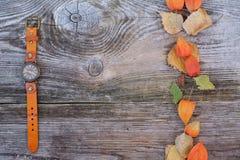 Fondo dei colori di autunno e un orologio su un bordo di legno Immagini Stock Libere da Diritti