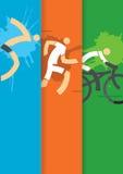 Fondo dei corridori di triathlon Fotografie Stock Libere da Diritti