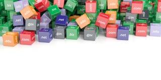 fondo dei cubi di Domain Name della rappresentazione 3d Fotografia Stock Libera da Diritti