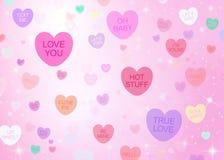 Fondo dei cuori di Candy di giorno di biglietti di S. Valentino fotografia stock libera da diritti