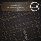 Fondo dei disegni di ingegnere meccanico su buio Fotografie Stock