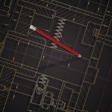 Fondo dei disegni di ingegnere meccanico su buio Fotografia Stock