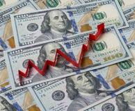 Fondo dei dollari e della freccia alta Fotografie Stock Libere da Diritti