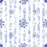 Fondo dei fiocchi di neve dell'acquerello di Natale Fiocchi di neve blu isolati sul fondo bianco della striscia fotografie stock