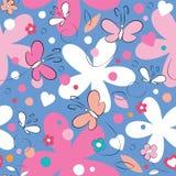 Fondo dei fiori e delle farfalle Fotografia Stock Libera da Diritti
