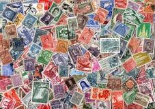 Fondo dei francobolli dell'America latina usati Fotografie Stock Libere da Diritti