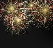 Fondo dei fuochi d'artificio di festa di vettore Buon anno 2018 Fotografie Stock Libere da Diritti