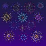 Fondo dei fuochi d'artificio nello stile piano Progettazione di celebrazione per le feste Insegna del vincitore, decorazioni di f illustrazione di stock