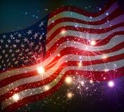 Fondo dei fuochi d'artificio per il quarto luglio Immagini Stock