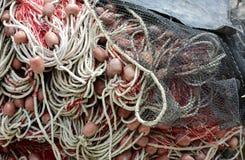 fondo dei galleggianti e delle reti da pesca usati dai pescatori Immagine Stock Libera da Diritti