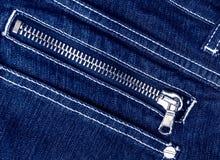 Fondo dei jeans della chiusura lampo Fotografia Stock