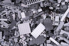 Fondo dei mattoni grigi di Lego Immagine Stock