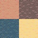 Fondo dei mura di mattoni rosso, giallo, blu, marrone Reticolo senza giunte Fotografia Stock