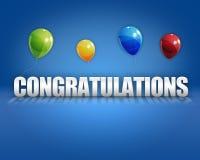 Fondo dei palloni 3D di congratulazioni Fotografie Stock