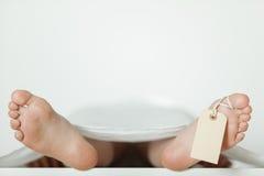 Fondo dei piedi nudi che attaccano con l'etichetta in bianco sul dito del piede Fotografie Stock