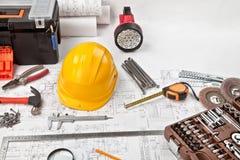 Fondo dei progetti e degli strumenti della costruzione Fotografie Stock