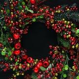 Fondo dei rami e delle bacche dell'albero di Natale fotografie stock