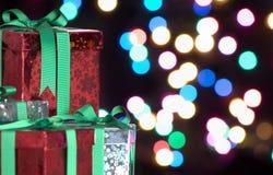 Fondo dei regali di Natale Fotografie Stock