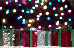 Fondo dei regali di Natale Fotografie Stock Libere da Diritti