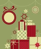 Fondo dei regali di Natale Fotografia Stock