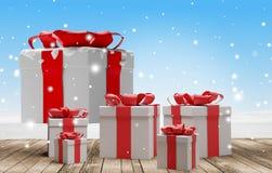 Fondo dei regali di Natale 3d-illustration illustrazione vettoriale
