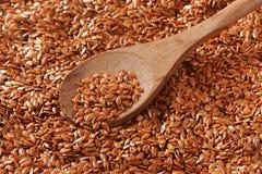 Fondo dei semi di lino di Brown Fotografia Stock