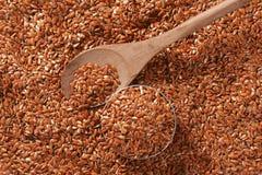 Fondo dei semi di lino di Brown Immagine Stock