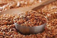 Fondo dei semi di lino di Brown Immagini Stock