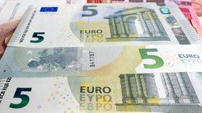 Fondo dei soldi dell'euro cinque Fotografie Stock