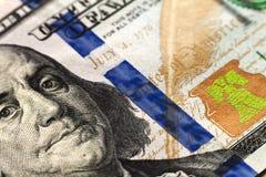 Fondo dei soldi delle banconote in dollari degli Stati Uniti cento Fotografie Stock Libere da Diritti