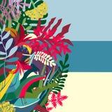 Fondo dei tropici con un litorale e una flora illustrazione di stock