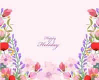Fondo dei wildflowers dell'acquerello illustrazione di stock