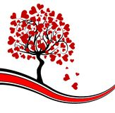Fondo del árbol de las tarjetas del día de San Valentín,   Imagenes de archivo