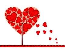 Fondo del árbol de las tarjetas del día de San Valentín, vector Fotografía de archivo