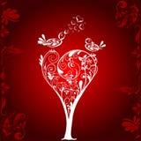 Fondo del árbol de las tarjetas del día de San Valentín, vector Fotos de archivo libres de regalías