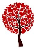 Fondo del árbol de las tarjetas del día de San Valentín, vector stock de ilustración