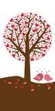 Fondo del árbol de los corazones - tema de la tarjeta del día de San Valentín ilustración del vector